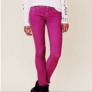 Free People Colored Skinny Jeans Magenta 24